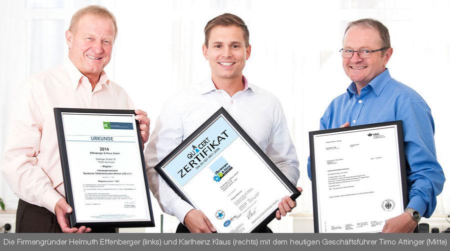 Die Firmengründer Helmuth Effenberger (links) und Karlheinz Klaus (rechts) mit dem heutigen Geschäftsführer Timo Attinger (Mitte)