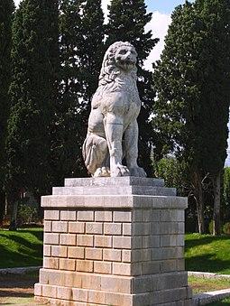 Löwe von Chaironeia, Siegesdenkmal Philipps II. (Schlacht von Chaironeia 338 v. Chr. (Archiv Hölscher))