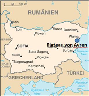 Lage des Avren-Plateaus und von Varna (Warna) (Kartengrundlage Wikipedia (File:Bu-map-DE.png))