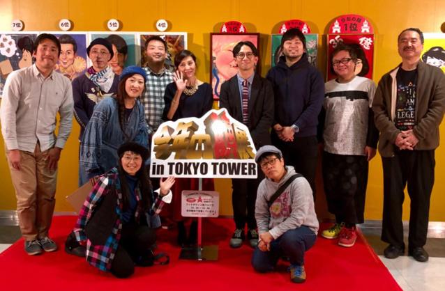 2017会場風景 司会の松本とも子さんとゲストの佐藤満春さん 今年の顔展