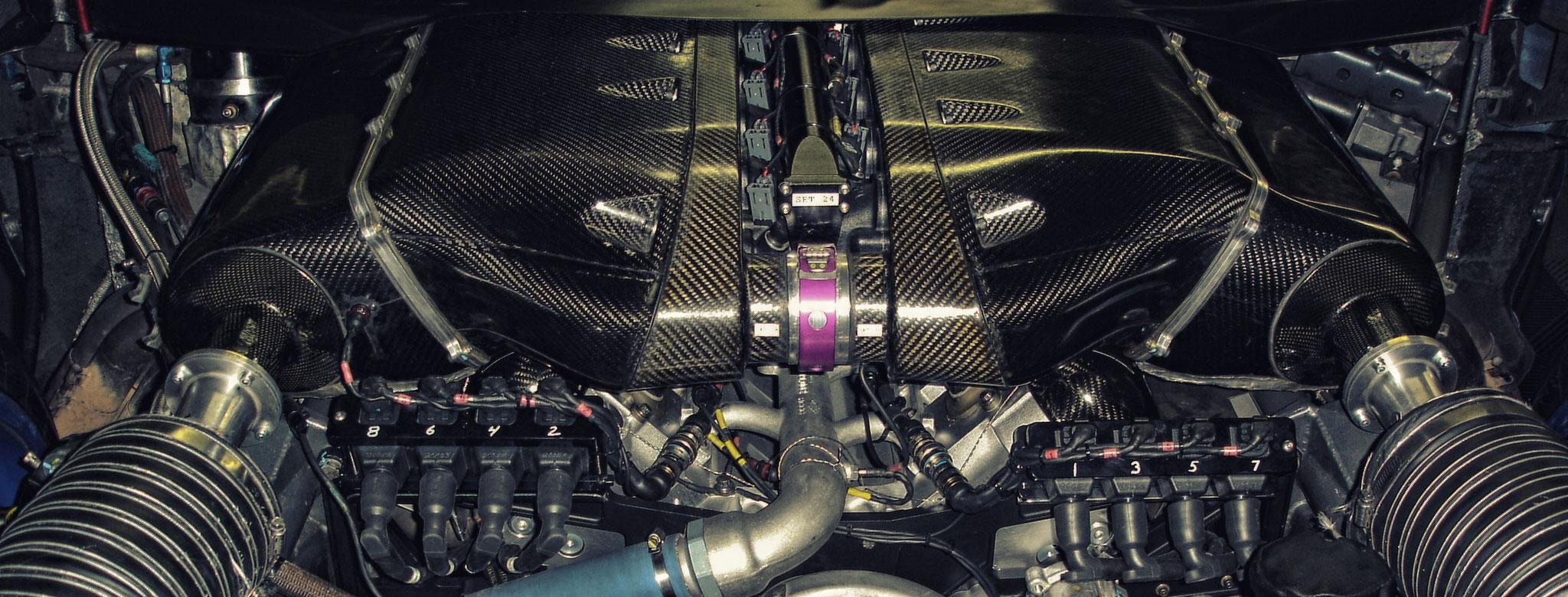 Frisch revidierter Corvette C5 Motor von MME. 7,0l, 610PS bei 6200 U/min. Max. Drehmoment 772Nm bei 5600 U/min. Daten mit Airrestriktor laut Reglement.