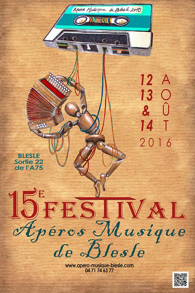 Proposition d'affiche pour le festival des Apéros Musique de Blesle