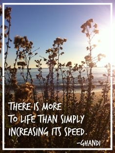 There is more to life than simply increasing its speed.  -- Ghandi