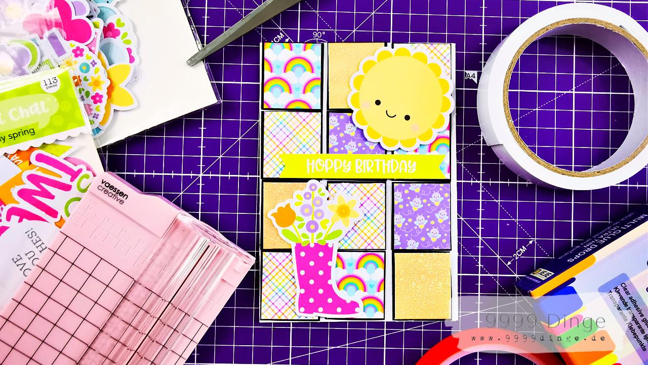 Karten basteln - Geburtstagskarte aus Papierresten basteln - Bastelidee #9