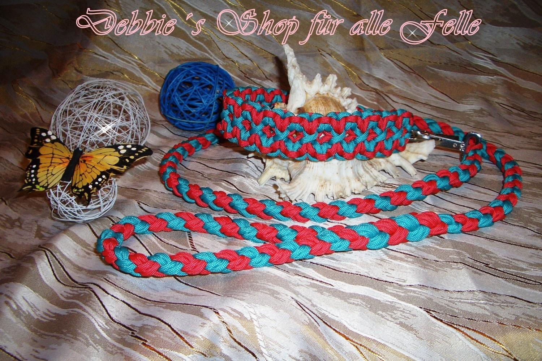turquoise * scarlett red / Leine: 4 Strang doppelt rundgeflochten