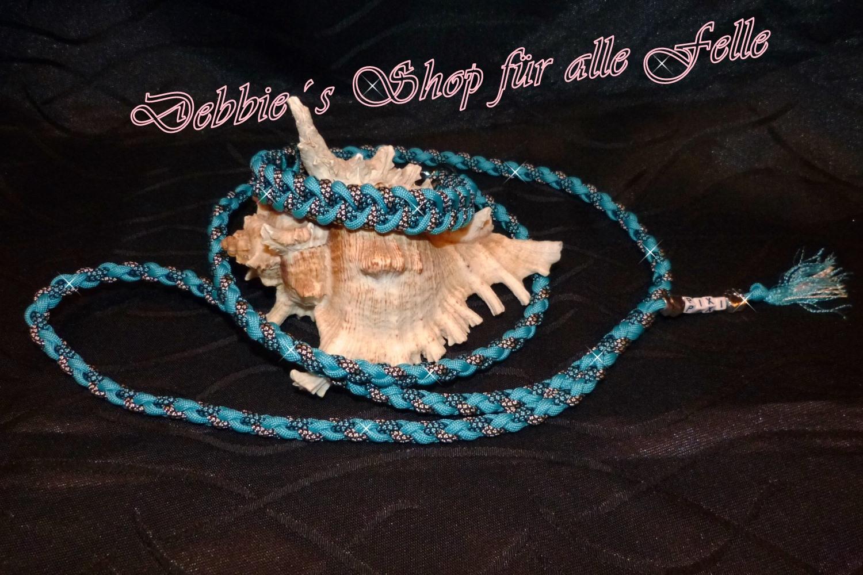 neon turquoise / neon turquoise diamonds / silver diamonds * Leine: 4 Strang einfach rundgeflochten