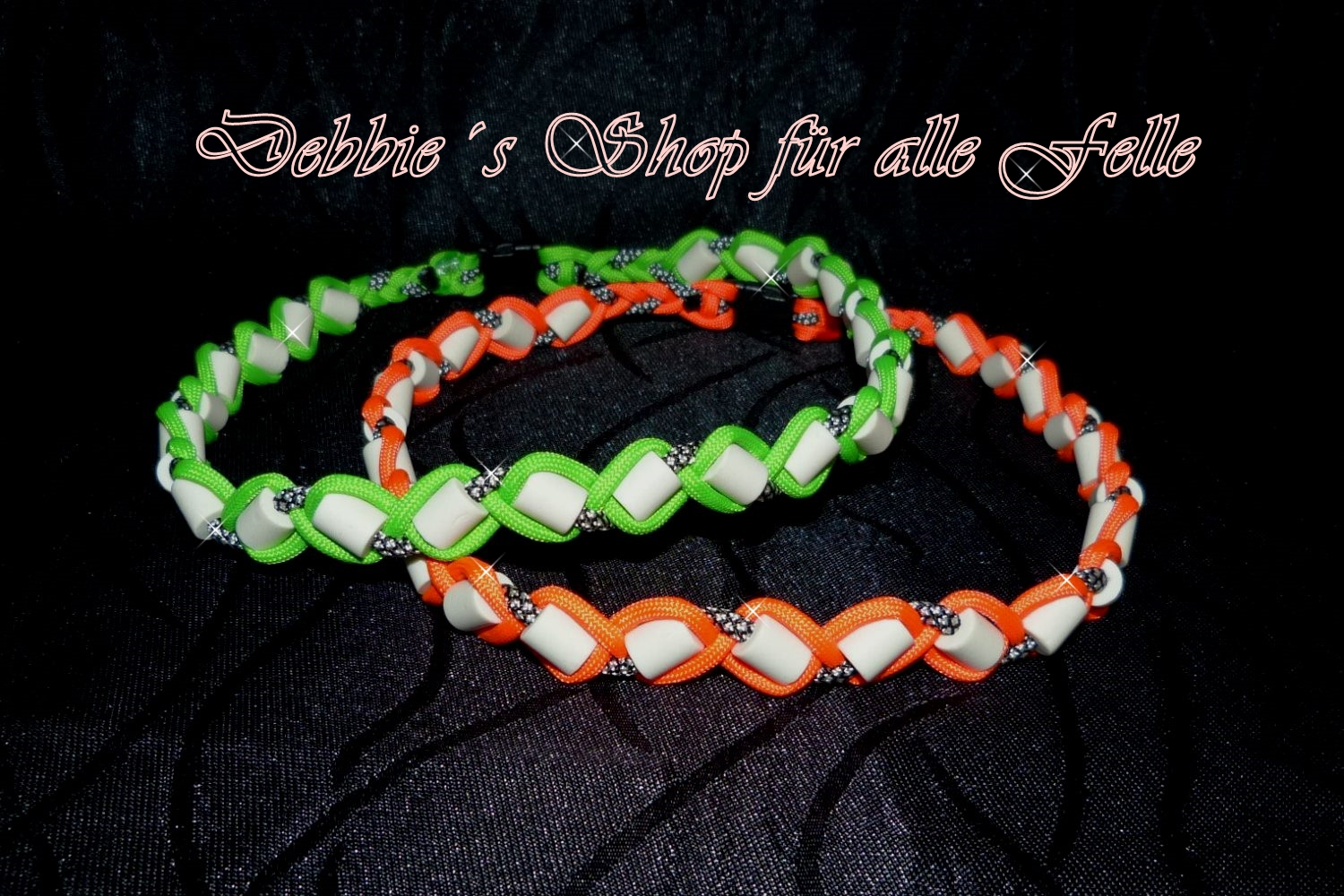 neon orange mit silver diamonds / neon green mit silver diamonds
