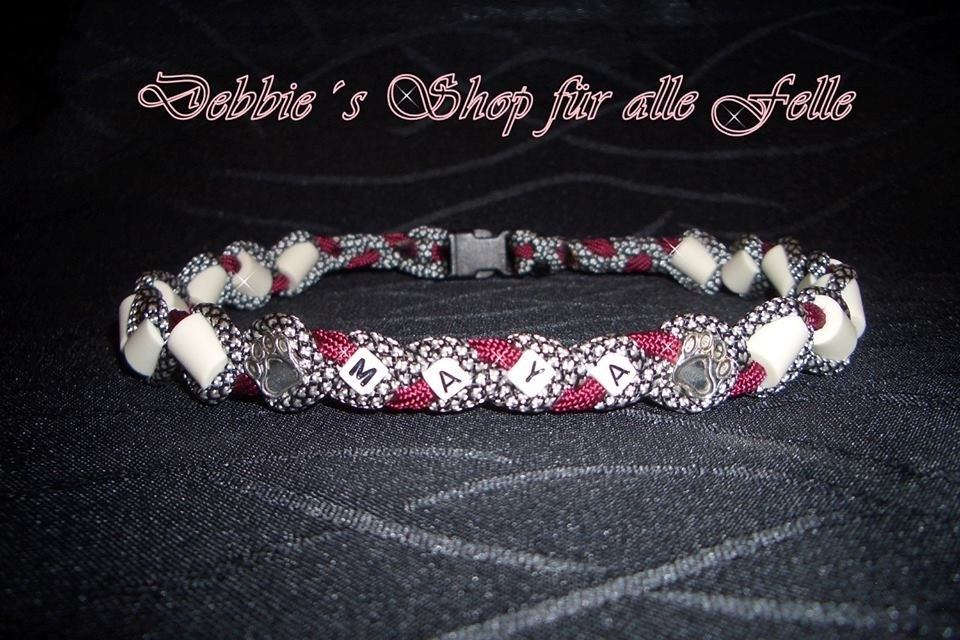 silver diamonds / burgundy mit Namen & Pfotenbeads