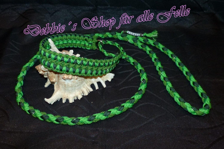 neon green * emerald green * neon green diamonds / Leine: 4 Strang doppelt rundgeflochten
