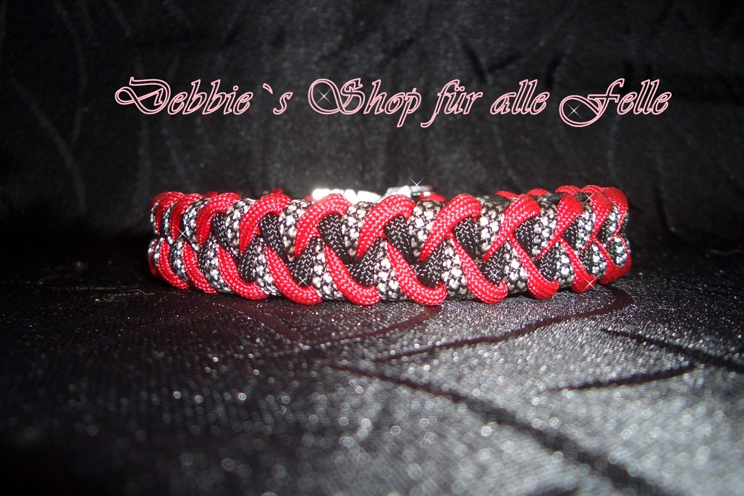 imperial red / black / silver diamonds
