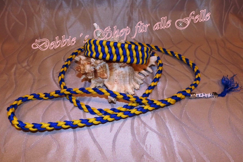 Farbe: electric blue / yellow * Leine: 4 Strang einfach rundgeflochten