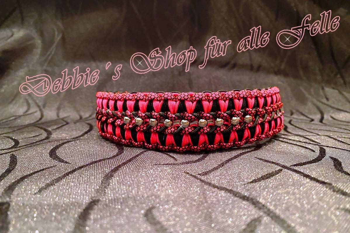 neon pink * black * neon pink diamonds mit Silberperlen mittig