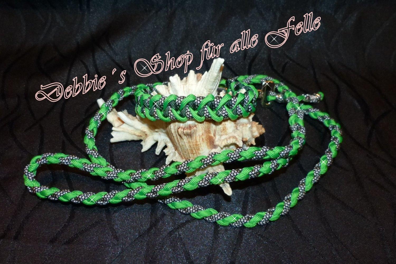 neon green / emerald green / silver diamonds / Leine: 4 Strang einfach rundgeflochten