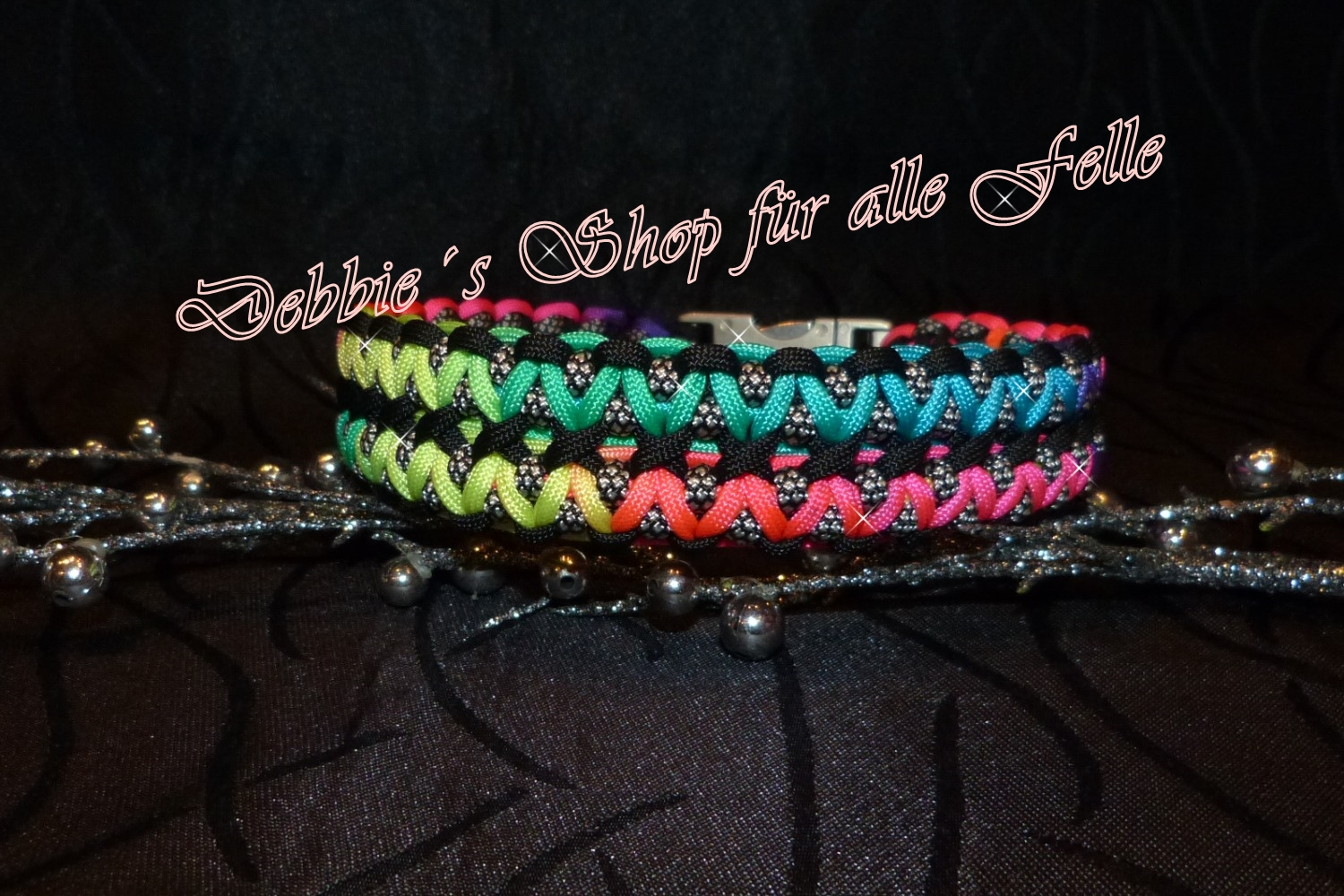 rainbow dark / black / silver diamonds
