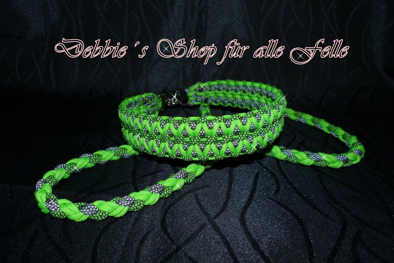 neon green * neon green diamonds * silver diamonds / Leine 4-Strang doppelt rund geflochten