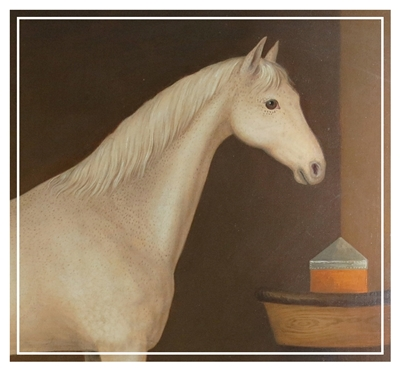 Large provincial oil portrait of a white horse in his stable