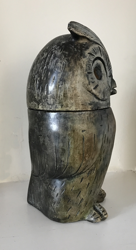 Folk art pot and cover modelled as an owl