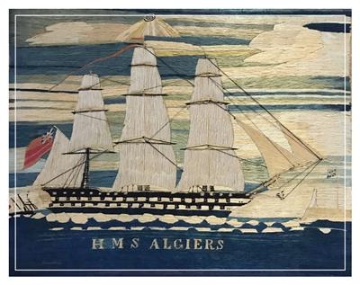 19th century folk art sailors woolwork from barbaraleighantiquefolkart.co.uk