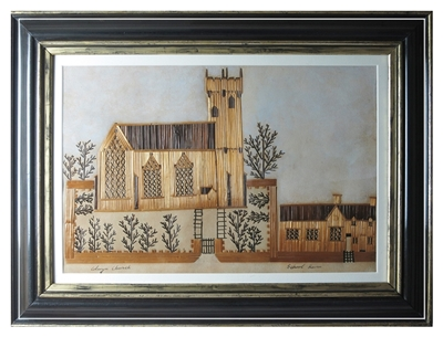 Welsh folk art straw work picture of Conway church