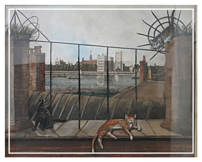 Decoupage of cats by the thames
