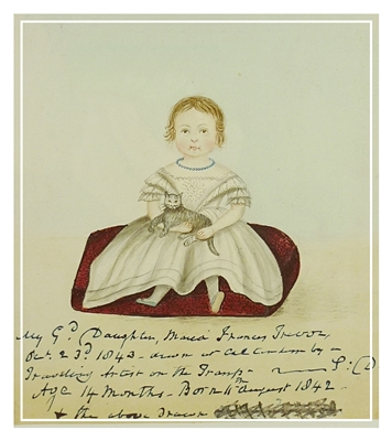 Charming naive folk art watercolour of a little girl with a cat