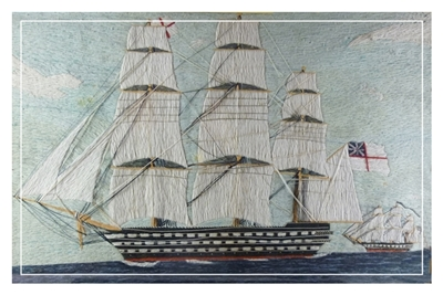 Large and fine antique folk art sailors wool work picture