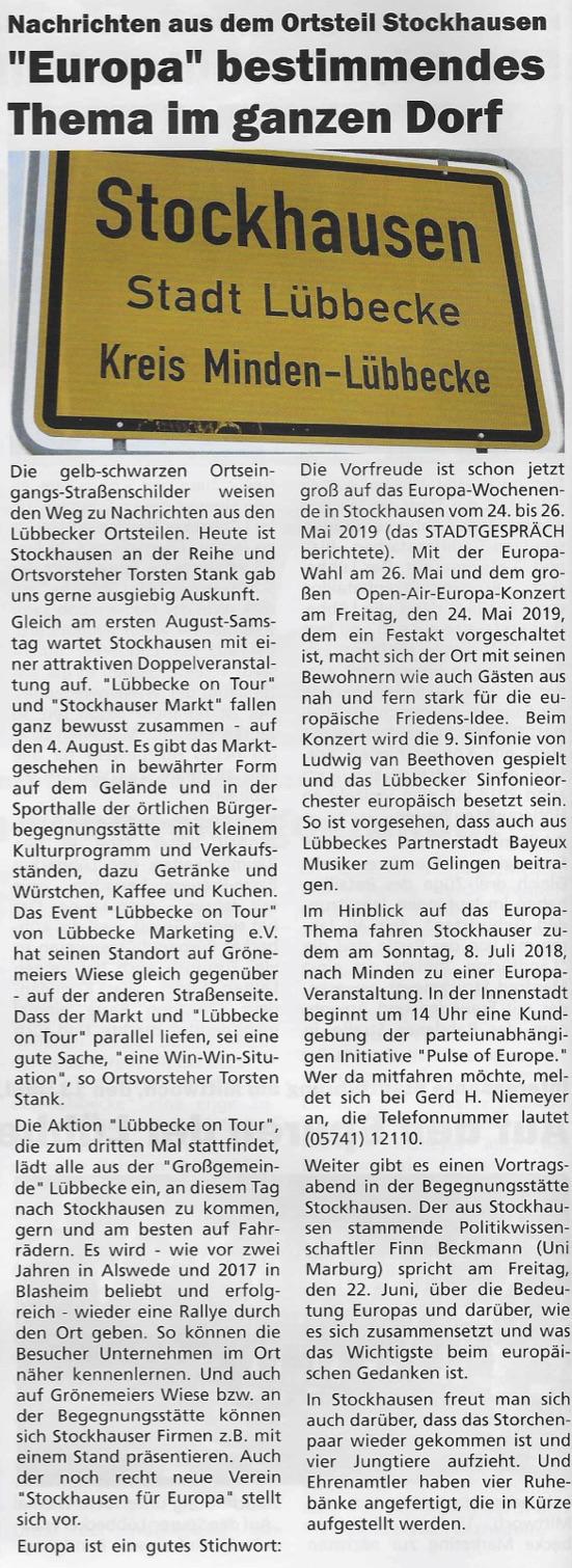 """Artikel zu """"Stockhausen für Europa"""" (Stadtgespräch – Magazin für das Lübbecker Land, 06/2018, S. 4)"""