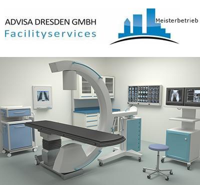 Praxisreinigung Dresden. Gebäudereinigung Dresden einer Arzt-Praxis. Logo von ADVISA-Service Reinigungsfirma Dresden GmbH.
