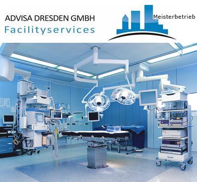 Operationssaal eines Krankenhaus nach Desinfektionsservice Dresden. Logo von ADVISA-Service Reinigungsfirma Dresden GmbH