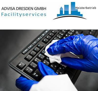 Büroreinigung Dresden mit Hygienereinigung der Tastatur. Logo von ADVISA-Service Reinigungsfirma Dresden GmbH