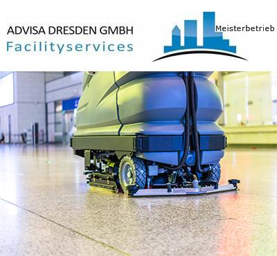 Logo ADVISA-Service Reinigungsfirma Dresden GmbH. Gebäudereinigung Dresden mit einem Gebäudereiniger auf einem Reinigungsautomat bei der Fußbodenreinigung Dresden Supermarkt.