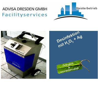 Kaltnebel-Gerät für die Kaltvernebelung in Dresden mit H2O2. Logo von ADVISA-Service Reinigungsfirma Dresden GmbH