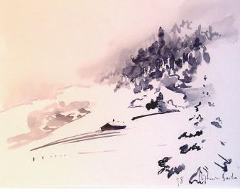 Pente enneigée, 1982, 25*35