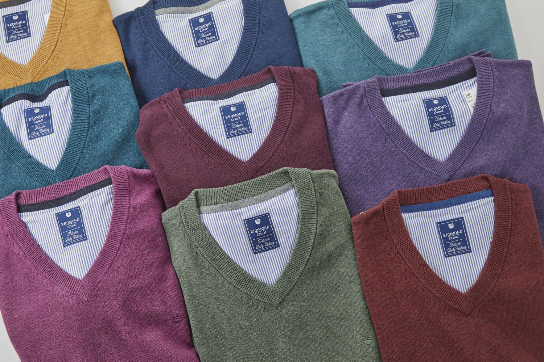 Basic gebreide heren truien - Redmond- Hemdvoorhem