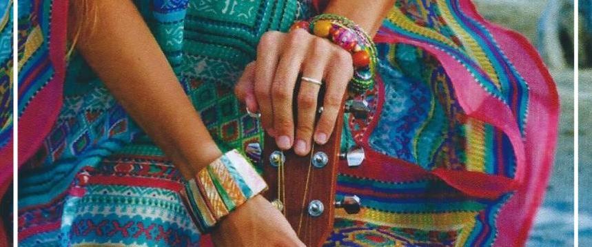 Bracelets torsadés fantaisie originaux. Perles de verre, d'os et de bois