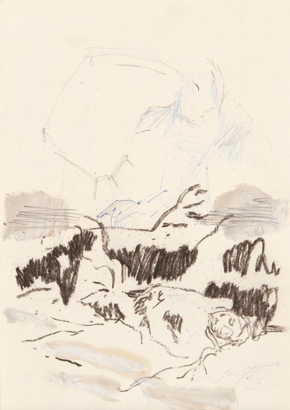 14  |  Ohne Titel  |  2012  |  Kohle, Graphit, Kugelschreiber auf Papier  |  29,7 x 21 cm