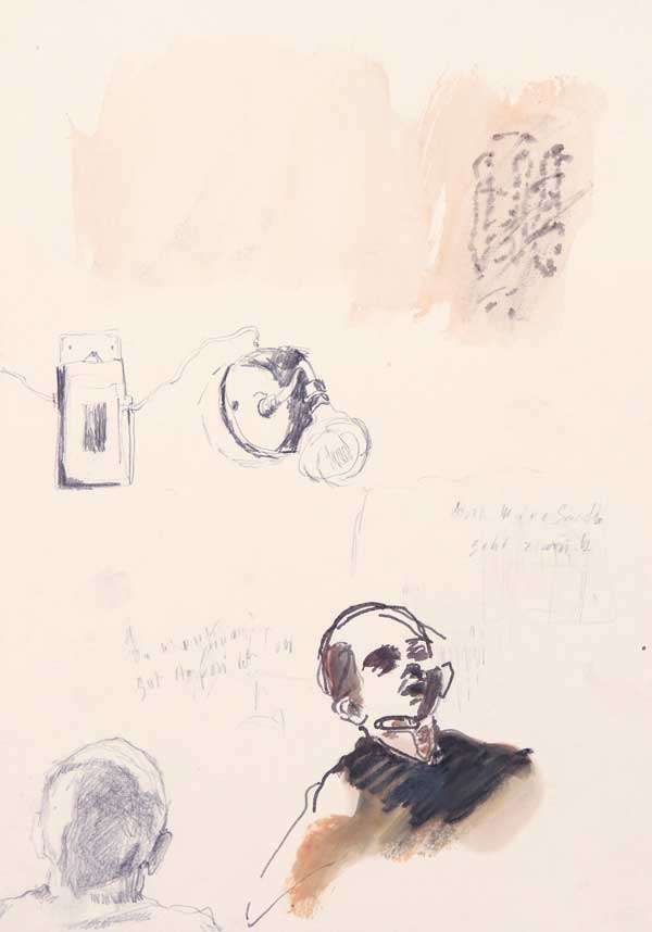 6  |  Lautlose Uhr aus Licht  |  2006  |  Graphit, Öl auf Papier  |  29,5 x 21 cm