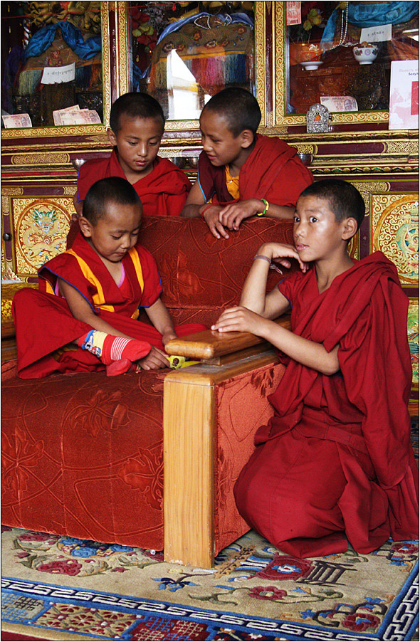 7 year old bakula rinpoche with friends (20. reincarnation of arhat bakula). Spituk monastery, Leh, Ladakh, India