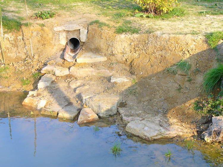 Zusammen befestigen wir die Uferböschung beim Einlauf des Dachwassers