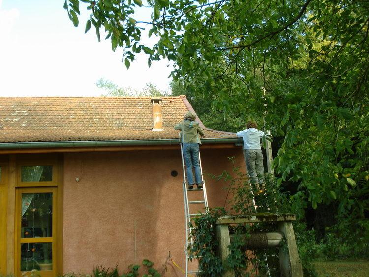 Henny und ich befreien die Dachrinnen vom Laub