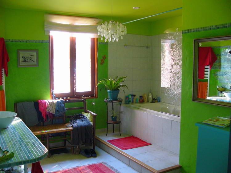 Das fertige Badezimmer - ganz in grün