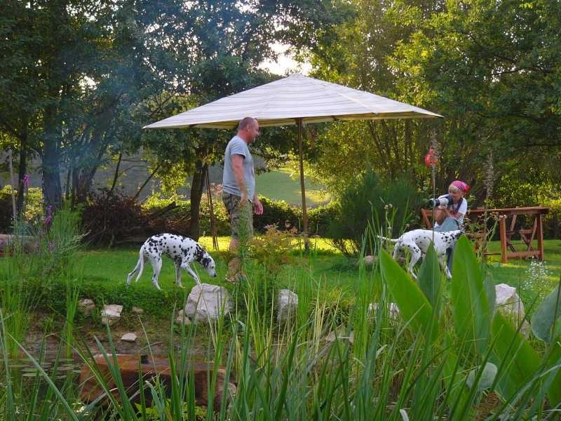 Gäste am Rumtollen mit ihren Hunden