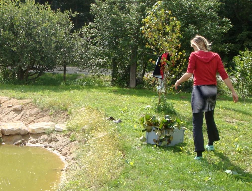 Andrea bringt eine Ladung Seerosen aus der Schweiz