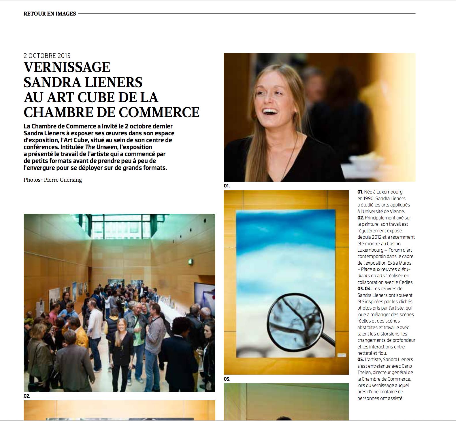 vernissage sandra lieners au art cube | merkur magazine | nov/déc '15 | LUX