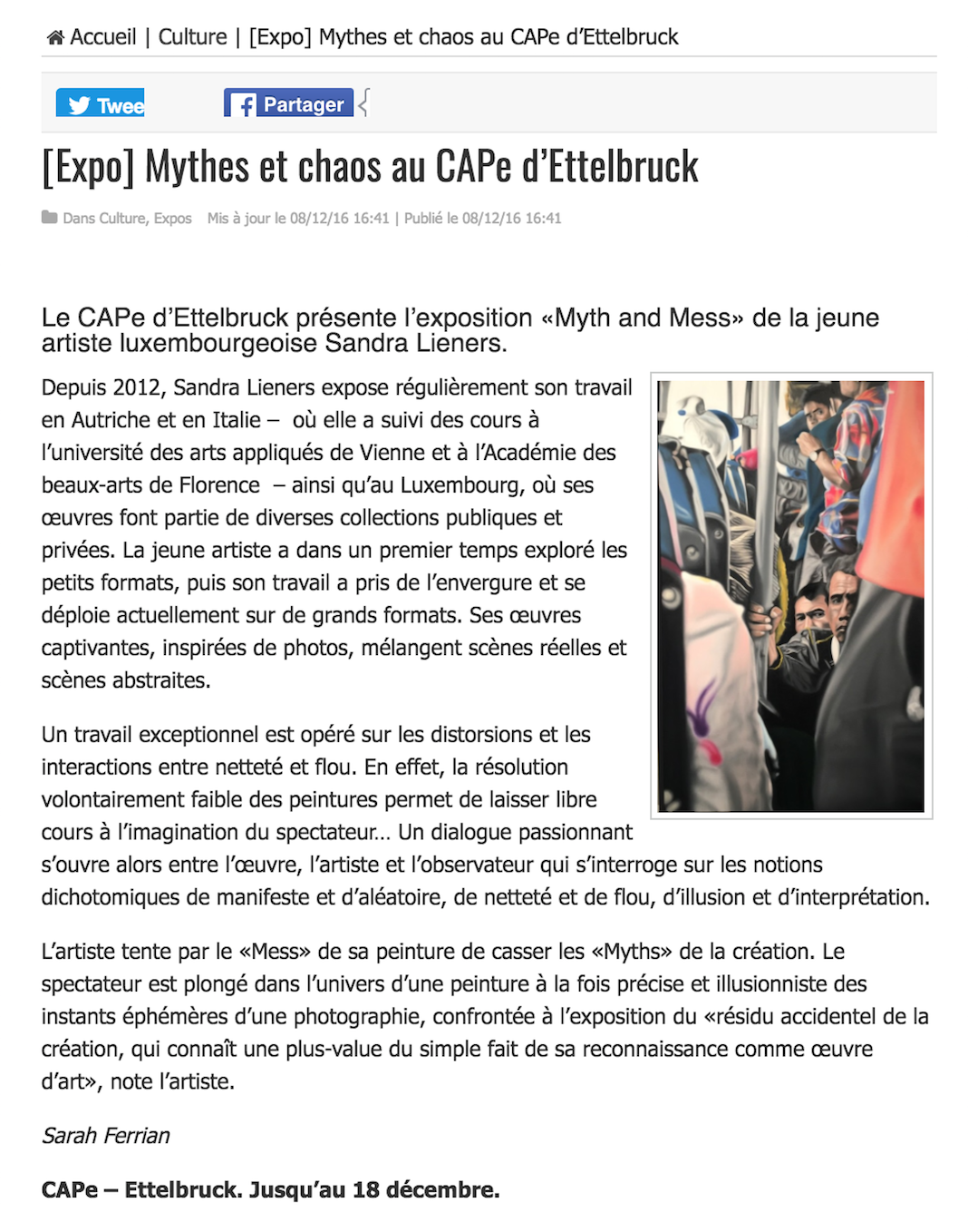 (expo) mythes et chaos au CAPE d'Ettelbruck | le quotidien | november '16 | LUX