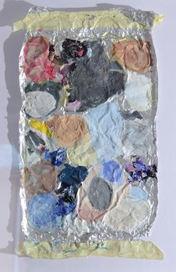 "number six (""the evidence"" series) oil on aluminium, 55 x 65 cm (framed), 2016"