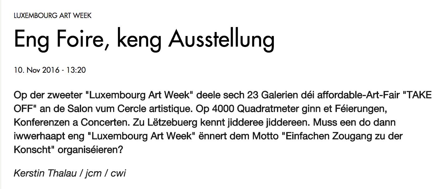eng foire, keng ausstellung | luxembourg art week | radio 100,7 | november '16 | LUX