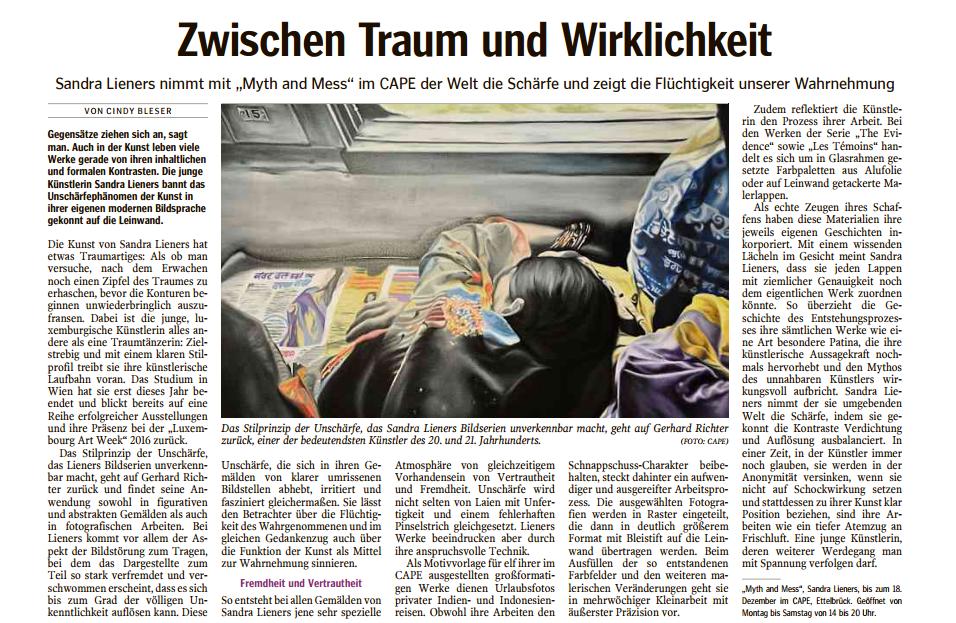 zwischen traum und wirklichkeit | luxemburger wort | december 3rd'16 | LUX