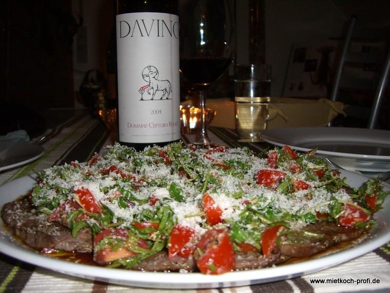 Tagliata mit Rucola und Parmesan