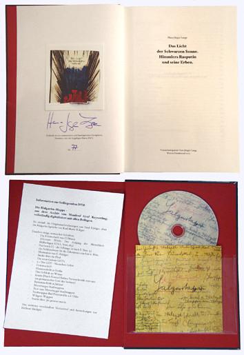"""Der Titel vom Buch """"Das Licht der schwarzen Sonne"""" von Hans-Jürgen Lange und die DVD mit den Halgarita-Sprüchen von Emil Rüdiger."""